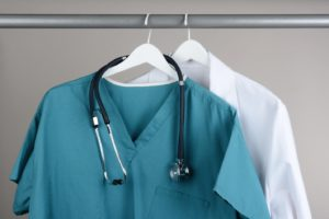 Clean dental scrubs, part of dental safety protocol